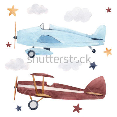 Väggdekor Watercolor set of isolated children's illustrations, airplanes, starry sky and clouds. Children's birthday