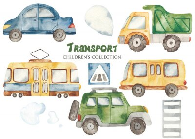Väggdekor Watercolor set with a cute cartoon kids transport for a boy. Cars, bus, tram, truck for baby shower, cards, invitations, prints, logos.