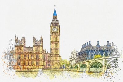 Väggdekor Watercolor sketch or illustration of a beautiful view of the Big Ben and the Houses of Parliament in London in the UK