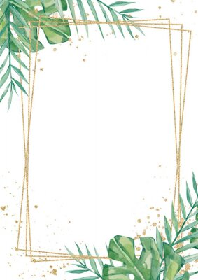 Väggdekor Watercolor tropical floral wedding cards, frame, template. Summer leaves and branches for invitation greeting cards, postcards