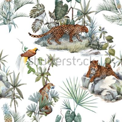 Väggdekor Watercolor tropical pattern with a leopard animal, a wild leopardle walking through the jungle, a leopard with a cub lying on the beds. Birds of Paradise on the tree. Palm tree and Monsterra plant.