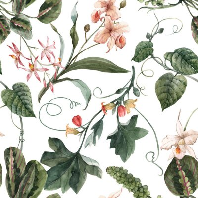 Väggdekor Watercolor tropical seamless pattern