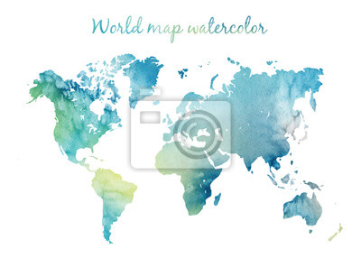 Väggdekor Watercolor world map in vector on wight background. Illustration in vector