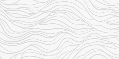 Väggdekor Wavy background. Monochrome backdrop with curved stripes. Repeating abstract waves. Stripe texture with many lines. Black and white illustration