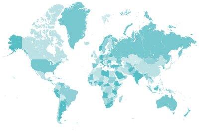 Väggdekor Welt Karte blau mit delstater Grenzen Vektor Grafik