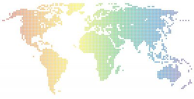 Väggdekor Weltkarte - gepunktet i den Regenbogenfarben
