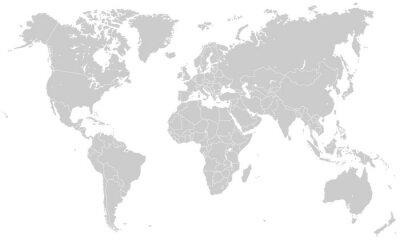 Väggdekor Weltkarte - hellgrau (hoher Detailgrad)