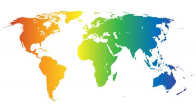 Väggdekor Weltkarte i Regenbogenfarben - Vektor