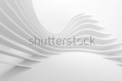 Väggdekor White Architecture Circular Background. Modern Building Design. Abstract Curved Shapes. 3d Rendering