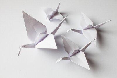 Väggdekor White crane handmade