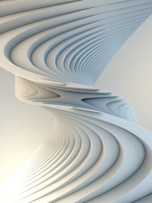 Väggdekor White stripe pattern futuristic background. 3d render illustration