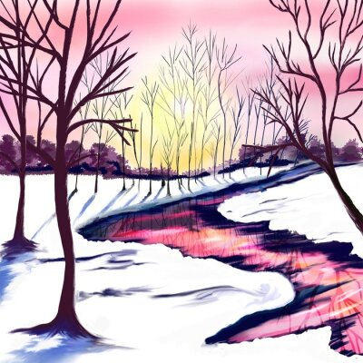 Väggdekor Winter landscape with trees in white and pink colors. Pink sunset by the river. The sun shines through the trees. Christmas party. Postcard, poster