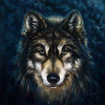 Väggdekor wolf front