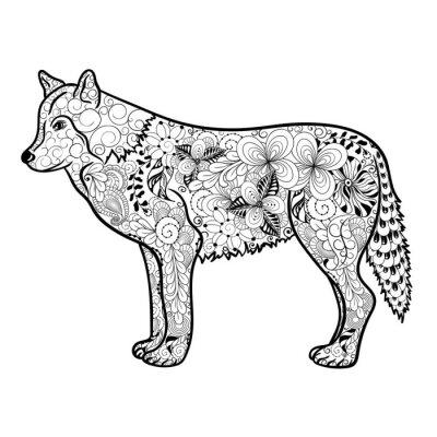 Väggdekor Wolf klotter