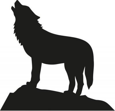 Väggdekor Wolf står och ylar