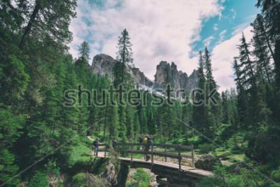 Väggdekor wooden bridge and saent waterfall on italian alps, Ambrizola mountains in Dolomites