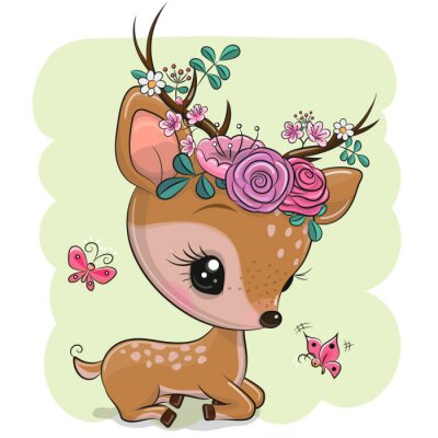 Väggdekor Woodland Deer with flowers and butterflies on a green background