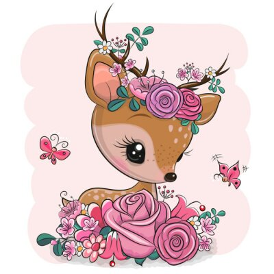 Väggdekor Woodland Deer with flowers and butterflies on a pink background