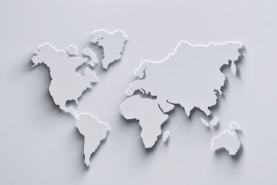 Väggdekor World map 3d in white colors with shadows and glowing edges. 3d illustration.