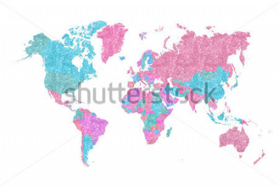 Väggdekor World Map in pink and blue glitter and sparkles, with plenty of space to insert your own quote under the image.