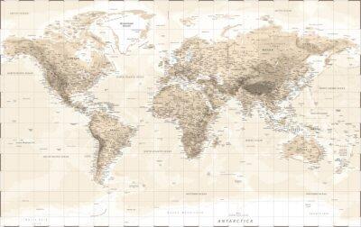 Väggdekor World Map Physical - Vintage Retro Old Style - Vector Detailed Illustration