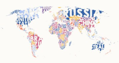 Väggdekor World map text composition, name of countries in color territories, Typographic vector illustration