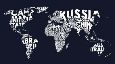 Väggdekor World map text composition of country names, typographical black and white vector illustration