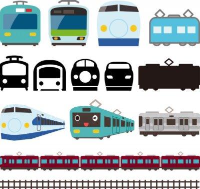 Väggdekor 電車 と 新 幹線 の ア イ コ ン と ラ イ ン