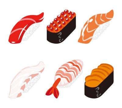 Väggdekor 寿司 六 貫 白 バ ッ ク セ ッ ト - Sushi sex objekt uppsättning