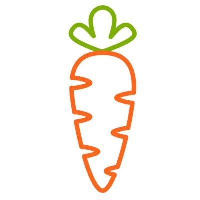 Väggdekor Плоская иконка морковь. Контурная векторная иллюстрация морковки. Контурный дизайн