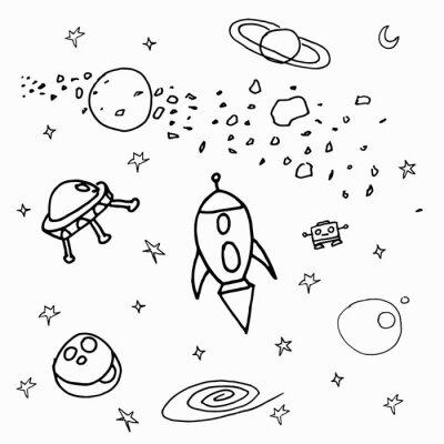 Väggdekor Космические объекты на белом фоне