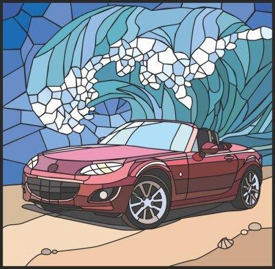 Väggdekor Автомобиль на берегу моря (Bil på stranden)