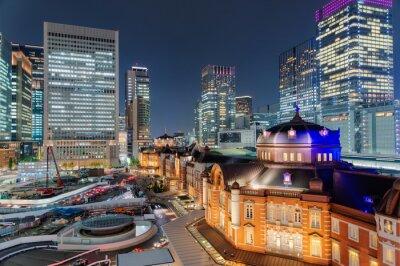 Väggdekor 東京 駅 夜景