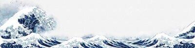 Väggdekor 神奈川沖浪裏 水彩ロングバージョン