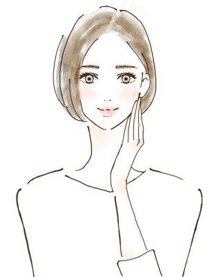 Väggdekor 女性 イラスト 幸せ 美容 健康的 スキンケア 美魔女