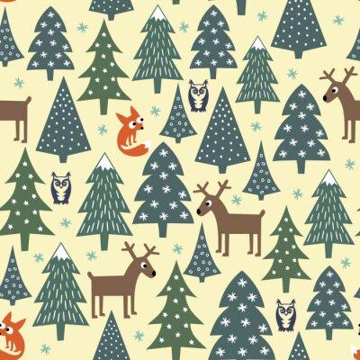 Väggdekor Sömlös jul mönster - varierade Xmas träd, hus, rävar, ugglor och rådjur. Gott Nytt År bakgrund. Vektordesign för vintern semester. Barn ritning stil naturskog illustration.