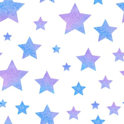 Väggdekor watercolor сute seamless pattern night sky for the textile fabric or wallpaper.