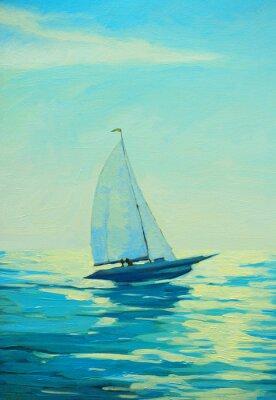 Väggdekor yacht med segel på morgonen medelhavs- havet, målning