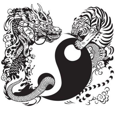 Väggdekor yin yang med drake och tiger