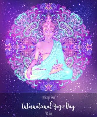Väggdekor Yoga card design. Colorful template for spiritual retreat or yoga studio. Ornamental business cards, oriental pattern. Vector illustration.
