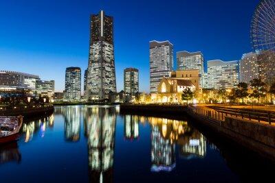 Väggdekor Yokohama stadsbild på natten
