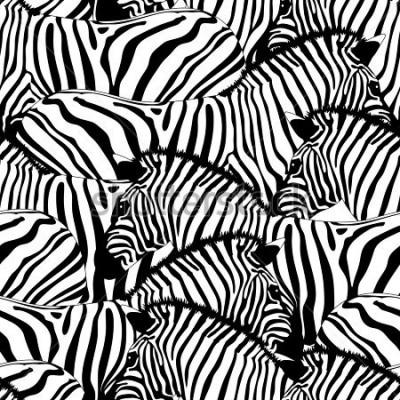 Väggdekor Zebra seamless pattern.Savannah Animal ornament. Wild animal texture. Striped black and white. design trendy fabric texture, illustration.
