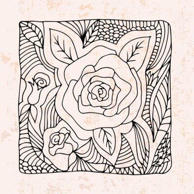 Väggdekor Zentangle med rosor och blad