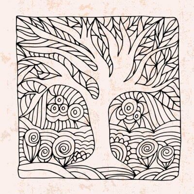 Väggdekor Zentangle med träd och blommor